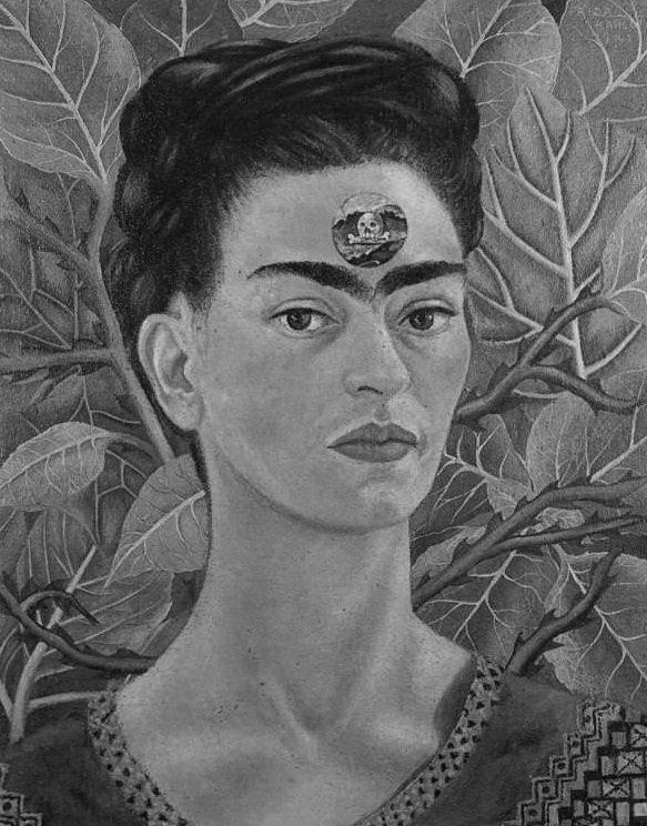 kahlo-skull-bw